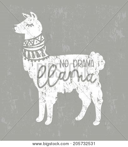 No drama llama vector quote with doodles. Llama motivational and inspirational quote. Simple cute white llama drawing with lettering, hand drawn vector illustration for cards, t-shirts, cases.