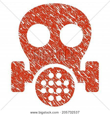 Grunge Gas Mask rubber seal stamp watermark. Icon gas mask symbol with grunge design and dust texture. Unclean vector red emblem.