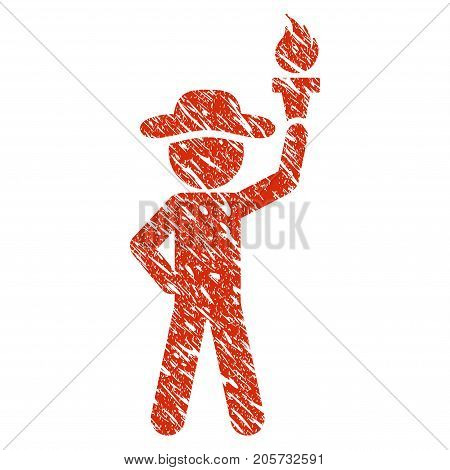 Grunge Gentleman With Freedom Torch rubber seal stamp watermark. Icon gentleman with freedom torch symbol with grunge design and scratched texture. Unclean vector red sticker.