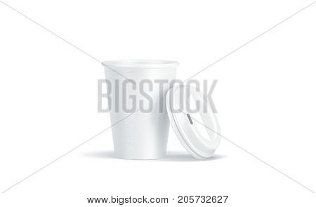 Blank white disposable paper cup with opened plastic lid mock up isolated 3d rendering. Empty polystyrene coffee drinking mug mockup front view. Clear tea take away package cofe branding template.