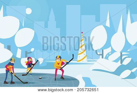 Happy family playing hockey in park in the city. Trees with snow blue and aqua colors christmas tree on background. Horizontal vector illustration with winter scene.