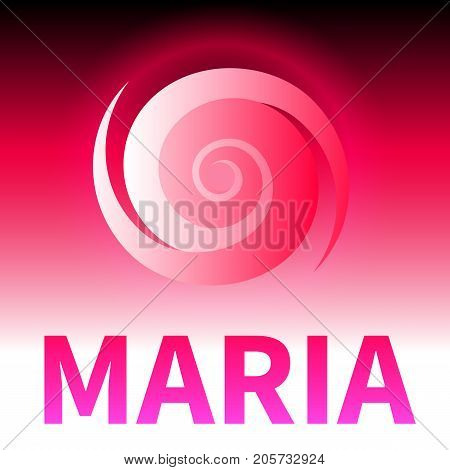 Graphic banner of hurricane Maria. Icon, sign, symbol of the hurricane, vortex, tornado