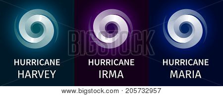 Graphic banner of hurricanes Harvey, Irma, Maria. Icon, sign, symbol of the hurricane, vortex, tornado