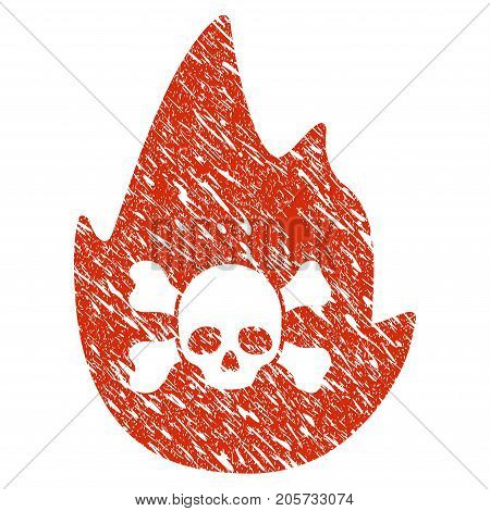 Grunge Hellfire rubber seal stamp watermark. Icon hellfire symbol with grunge design and scratched texture. Unclean vector red sticker.