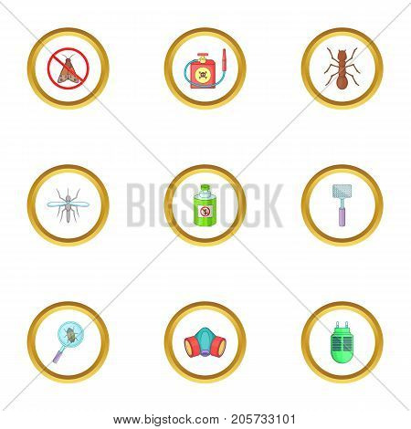 Home pest control service icons set. Cartoon style set of 9 home pest control service vector icons for web design