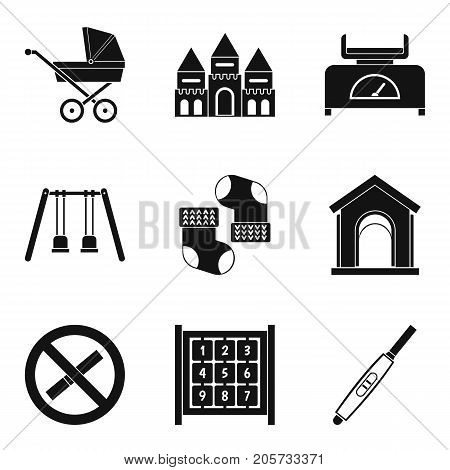 Walk with child icons set. Simple set of 9 walk with child vector icons for web isolated on white background
