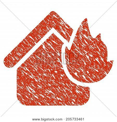 Grunge Home Fire Disaster rubber seal stamp watermark. Icon home fire disaster symbol with grunge design and dirty texture. Unclean vector red emblem.