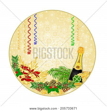 Button circle snowflakes New Year midnight toast and pine cones with yew gold background vintage vector illustration editable hand draw