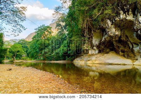 Mountain River In Khao Sok National Park In Thailand