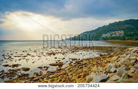 Rocky Beach At Sunset. Beautiful Gold Sundown At Rocky Coast. Selective Focus