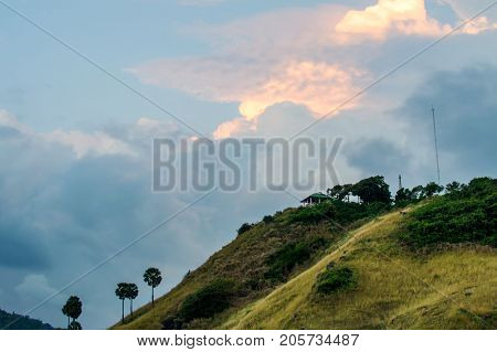 Edge Of Steep Slope On Hillside In Cloudy Weather. Dramatic Scenery