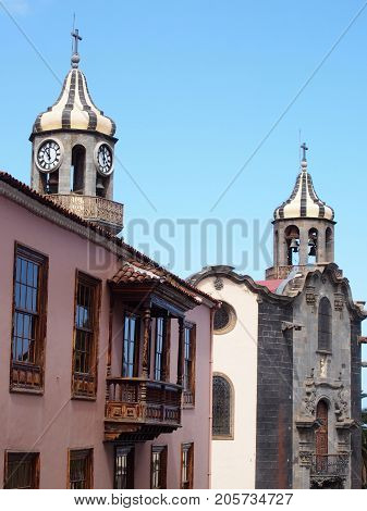 church and old buildings in the historic town or orotava in Tenerife