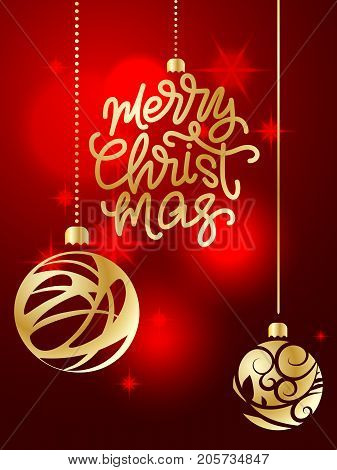 Merry Christmas lettering. Hand written Merry Christmas poster. Modern hand lettering on a red background with golden Christmas balls. vector illustration