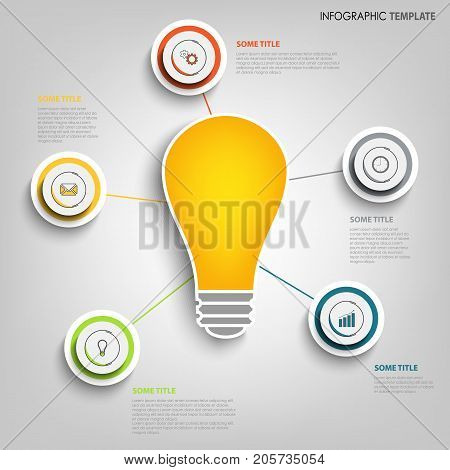 Info graphic with design pointers and bulb template vector eps 10