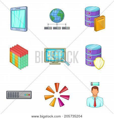 Sale of information icons set. Cartoon set of 9 sale of information vector icons for web isolated on white background