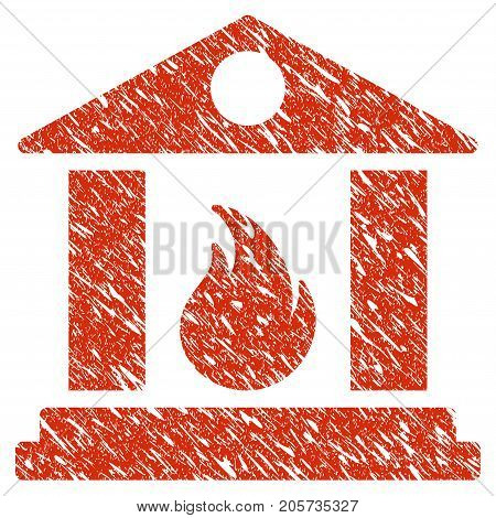 Grunge Sacrificial Temple Fire rubber seal stamp watermark. Icon sacrificial temple fire symbol with grunge design and dust texture. Unclean vector red sign.