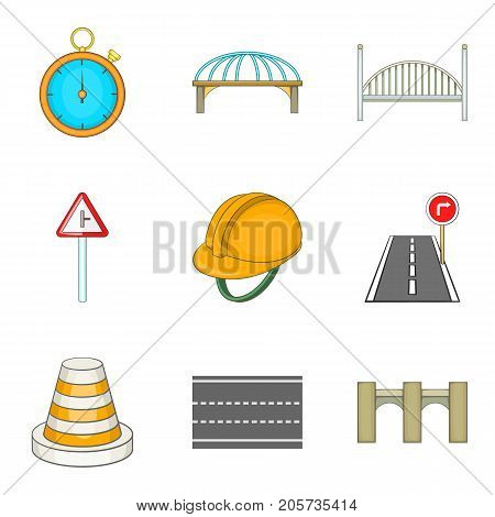 Road worker cons set. Cartoon set of 9 road worker vector icons for web isolated on white background