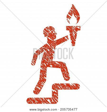 Grunge Soldier Climbing With Torch rubber seal stamp watermark. Icon soldier climbing with torch symbol with grunge design and dirty texture. Unclean vector red sign.