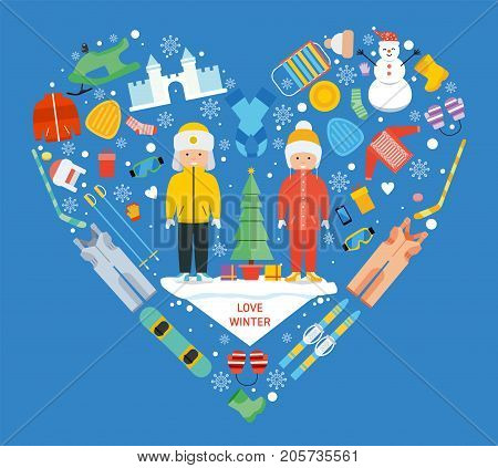 Winter kid activity flat icon in heart shape. Love winter concept banner template. Sports recreation pictogram collection. Childrens winter holiday. Winter resort, games, fun and gear. Flat style