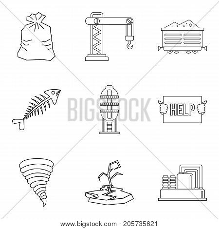 Enviroment protection icons set. Outline set of 9 enviroment protection vector icons for web isolated on white background