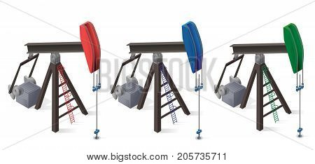 Three oil extraction pumps. Oil well industry production, oilfield equipment. Mining equipment typical of Texas and USA. Industrial self-propelled machine. Isolated master vector illustration.