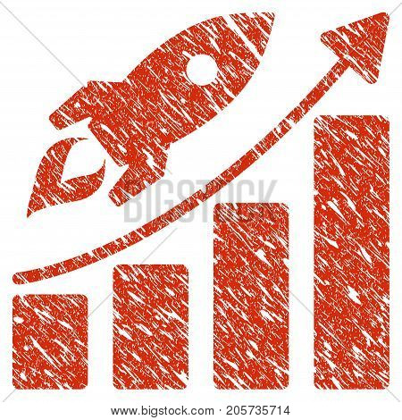 Grunge Startup Rocket Growth Chart rubber seal stamp watermark. Icon startup rocket growth chart symbol with grunge design and unclean texture. Unclean vector red sign.