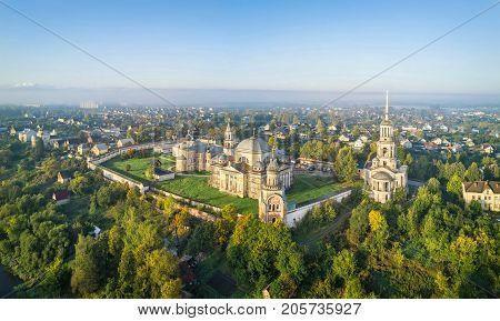 Aerial view on Boris and Gleb Novotorzhsky monastery in Torzhok Tver oblast Russia