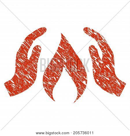 Grunge Warm Up Hands rubber seal stamp watermark. Icon warm up hands symbol with grunge design and scratched texture. Unclean vector red sign.