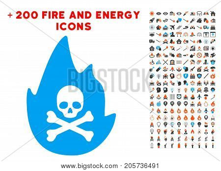 Hellfire icon with bonus power design elements. Vector illustration style is flat iconic elements for web design, app ui.