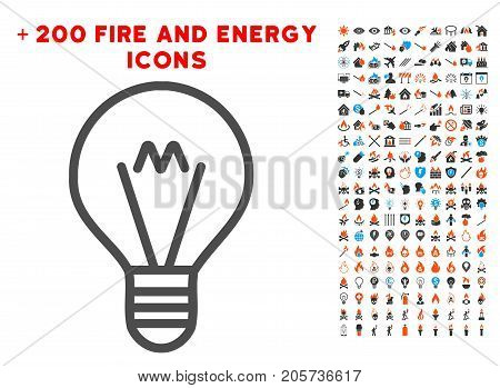 Hint Lamp icon with bonus fire pictograms. Vector illustration style is flat iconic symbols for web design, application user interface.