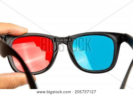 stereo glasses on a white background, blue and red