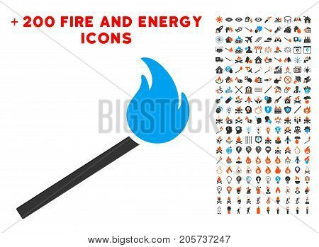 Match Fire icon with bonus energy design elements. Vector illustration style is flat iconic elements for web design, app ui.