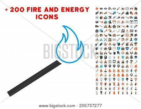 Match Fire pictograph with bonus flame images. Vector illustration style is flat iconic symbols for web design, application ui.