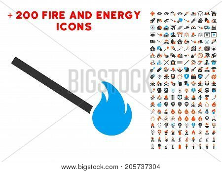 Match Fire pictograph with bonus flame graphic icons. Vector illustration style is flat iconic symbols for web design, application user interface.