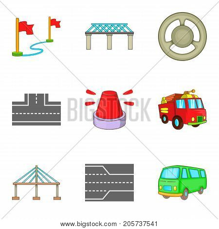 Road lane icons set. Cartoon set of 9 road lane vector icons for web isolated on white background