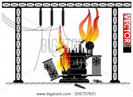 Accident at the transformer substation. Fire on the transformer. Power outage. Blackout news. Wires and supports.
