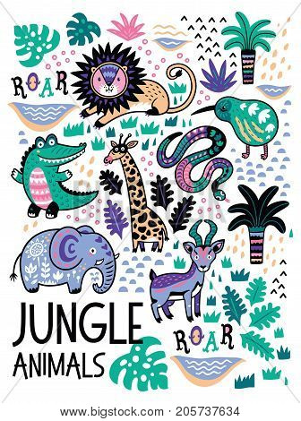 Jungle animals set in childish style. Cartoon safari animals includes lion, kiwi, crocodile, elephant, snake and impala