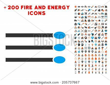Matches icon with bonus flame pictograph collection. Vector illustration style is flat iconic elements for web design, application user interface.