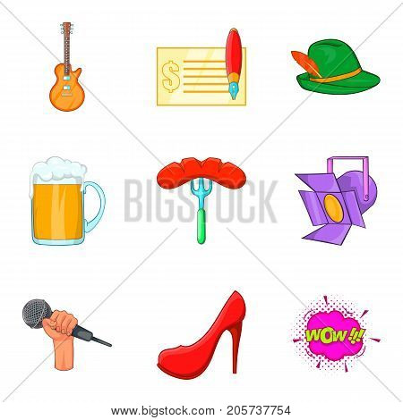 Beer party icons set. Cartoon set of 9 beer party vector icons for web isolated on white background