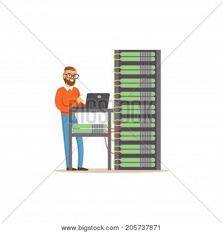 Network engineer administrator working in data center using laptop to analyze system, server maintenance support vector illustration isolated on a white background
