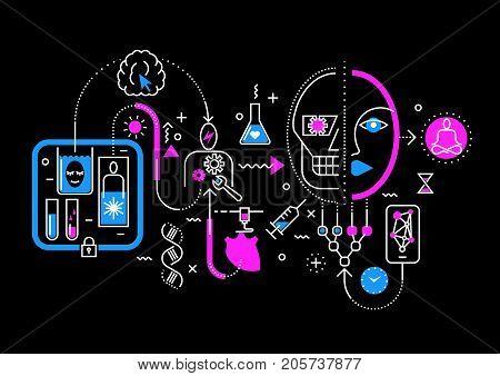 Vector trendy line abstract process illustration of medical technologies in future, robotization, creogenesis, transplantation, eternal life. Concept for website header banner layout, presentation.
