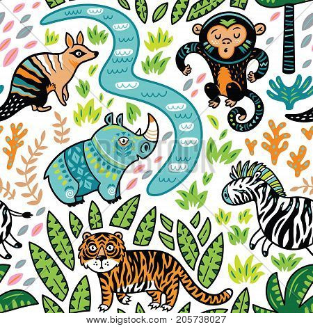 Safari animals seamless pattern with cartoon hippo, monkey, numbat, tiger and zebra. Vector texture in childish style great for fabric and textile, wallpapers, backgrounds, cards design