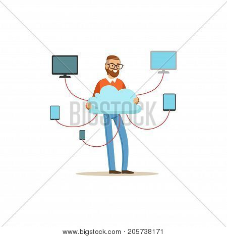 Network engineer administrator working in data center, cloud computer connection hosting server database synchronize technology vector illustration isolated on a white background