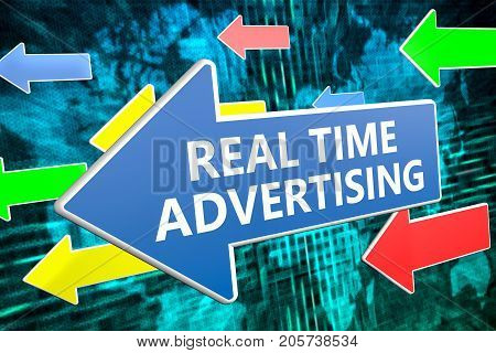 Real Time Advertising - text concept on blue arrow flying over green world map background. 3D render illustration.