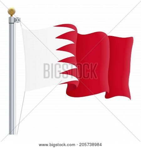 Waving Bahrain Flag Isolated On A White Background. Vector Illustration. Official Colors And Proportion. Independence Day