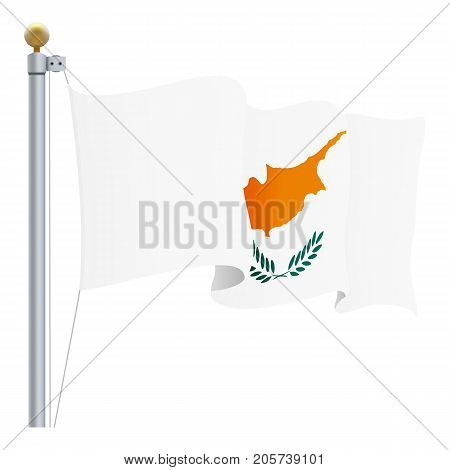 Waving Cyprus Flag Isolated On A White Background. Vector Illustration. Official Colors And Proportion. Independence Day