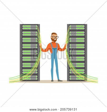 System administrator, server admin, programmer working with hardware equipment of data center, technologies server maintenance support descriptions vector illustration isolated on a white background