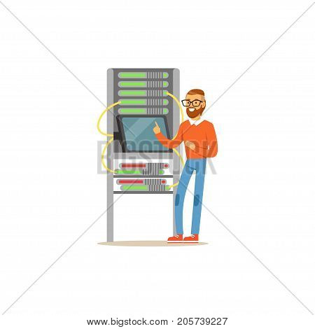 Network engineer administrator working in data center using tablet connected to server rack, server maintenance support vector illustration isolated on a white background