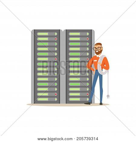 System administrator, server admin, programmer working with hardware equipment of data center, server maintenance support vector illustration isolated on a white background