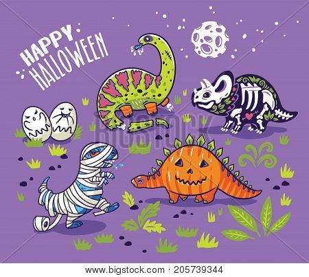 Happy Halloween dinosaurs, set of characters, zombie and pumpkin, skeleton, mummy and ghosts. Vector illustration